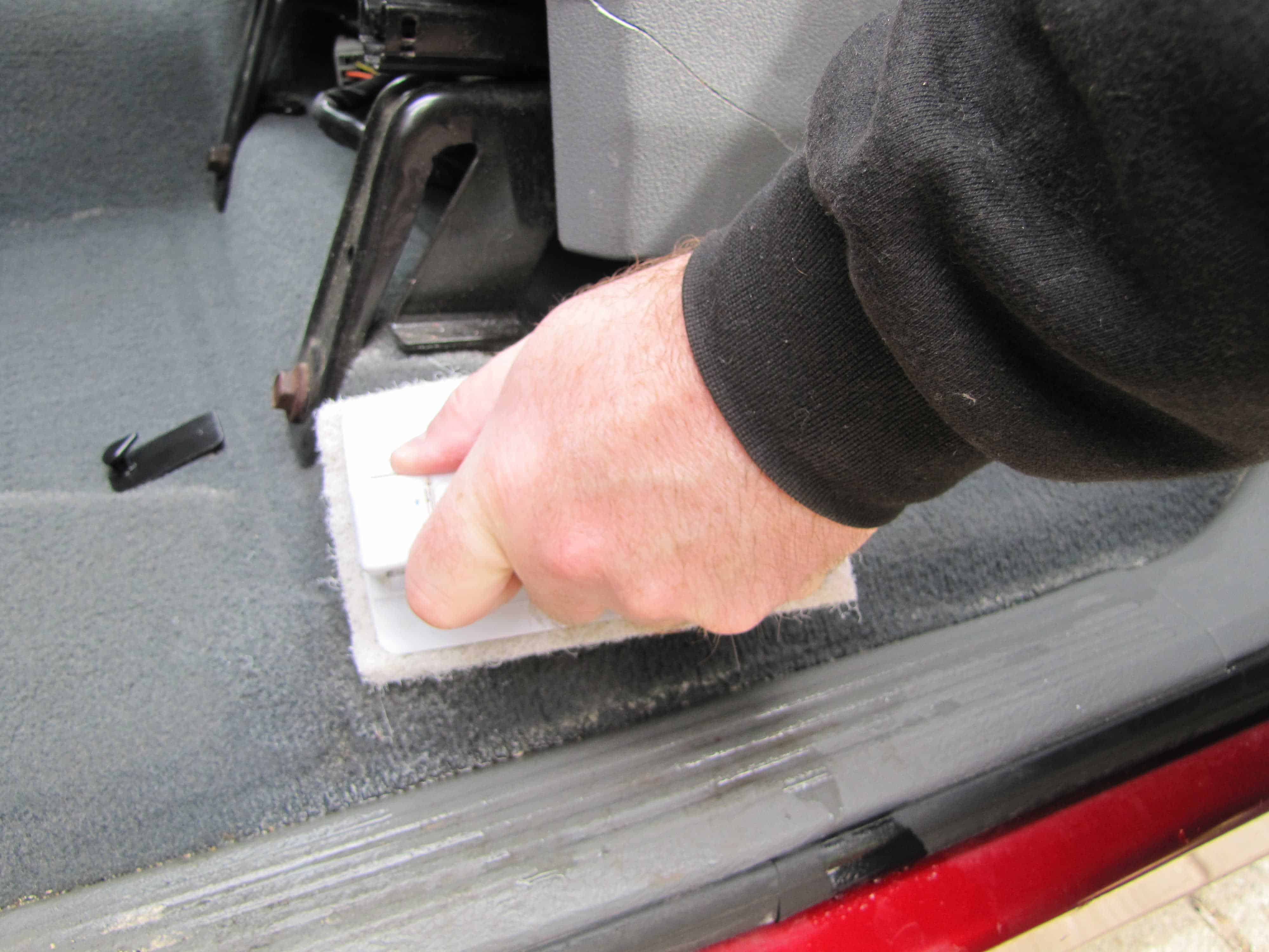 DIY Car Detailing - After Mixture Has Saturated Area Scrub Stains