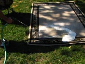 Clean patio rug